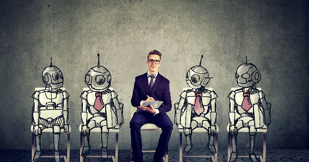 Human vs Robots concept