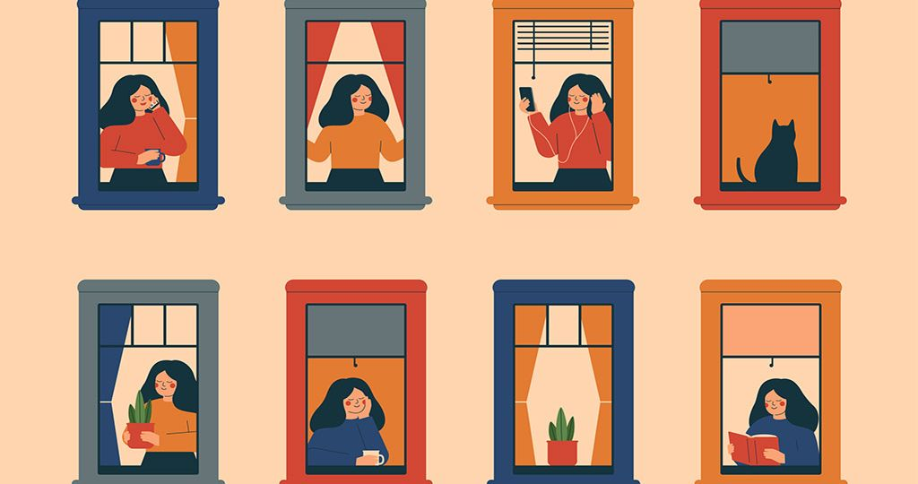 Windows with women doing daily things in their apartments