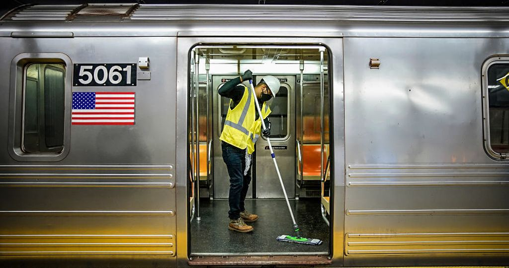 MTA Contractors Disinfect The New York City Subway System Amid The Coronavirus