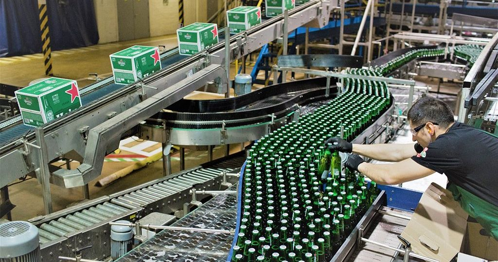 Beer Production And Bottling At A Heineken NV Brewery